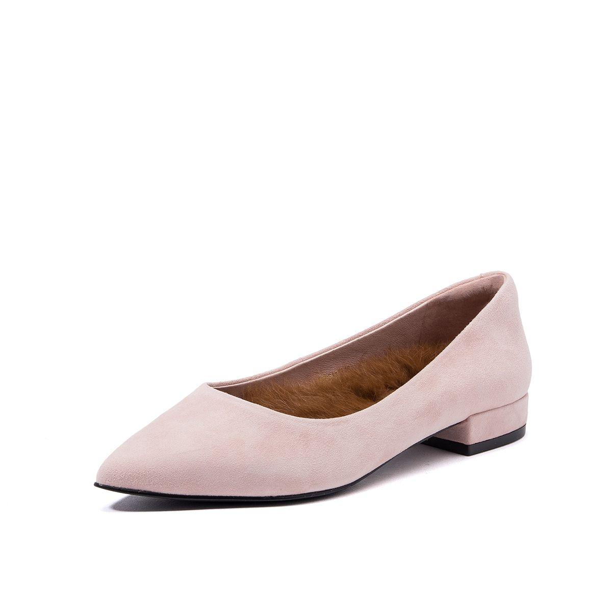 星期六星期六羊皮毛毛鞋尖头浅口低跟粗跟女单鞋女SS8311134631