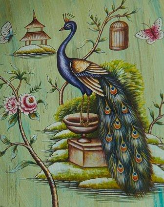 莺歌燕舞手绘装饰盘