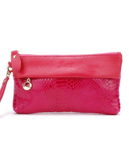 诗薇儿 女士桃红色蛇纹牛皮手拿包