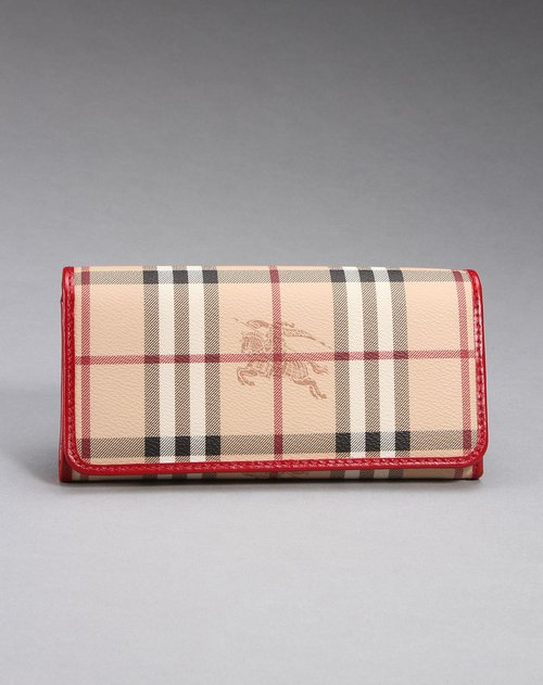 burberry女款精美图案长款钱包卡其/红色