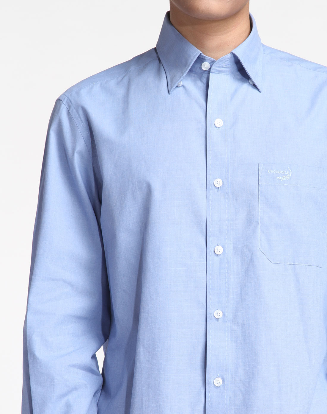 浅蓝色简洁商务长袖衬衫