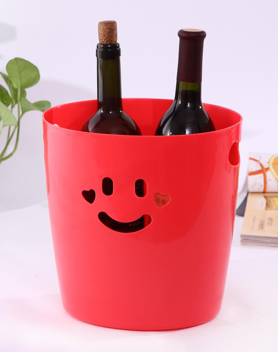 h&3家居用品专场红色可爱笑脸桌面收纳桶