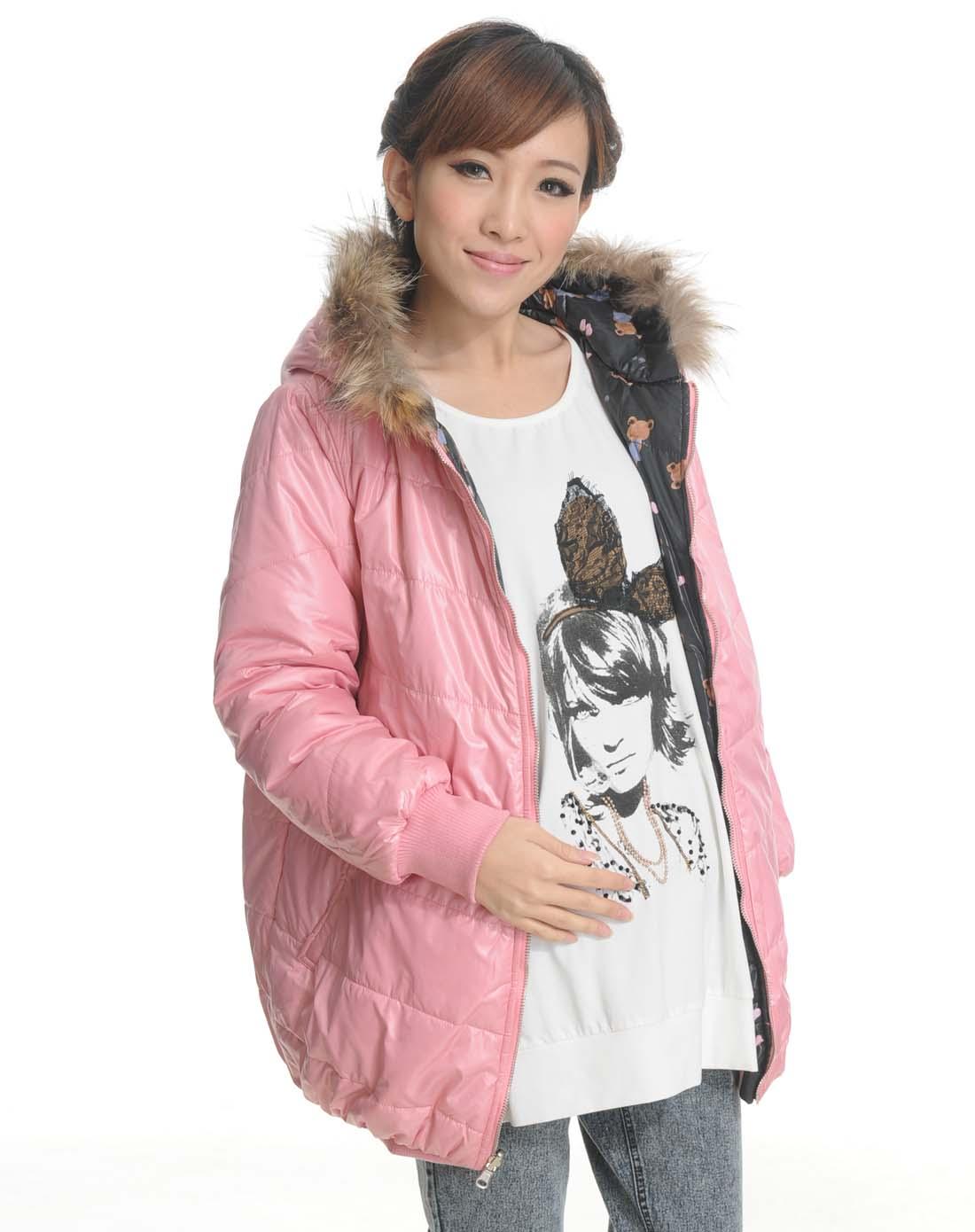 粉红色连帽双面穿长袖棉衣图片