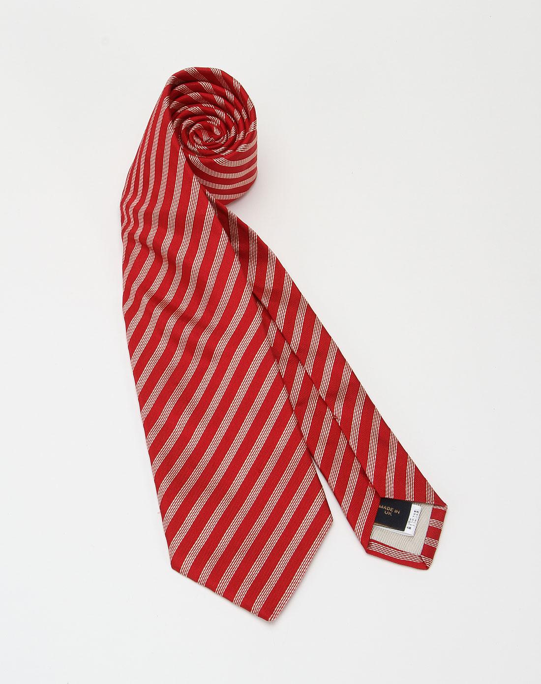 鲜红色斜条纹时尚领带