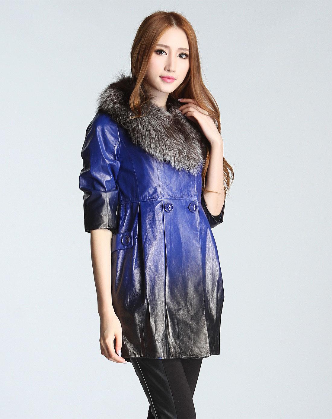 女装宝蓝色渐变中袖皮衣