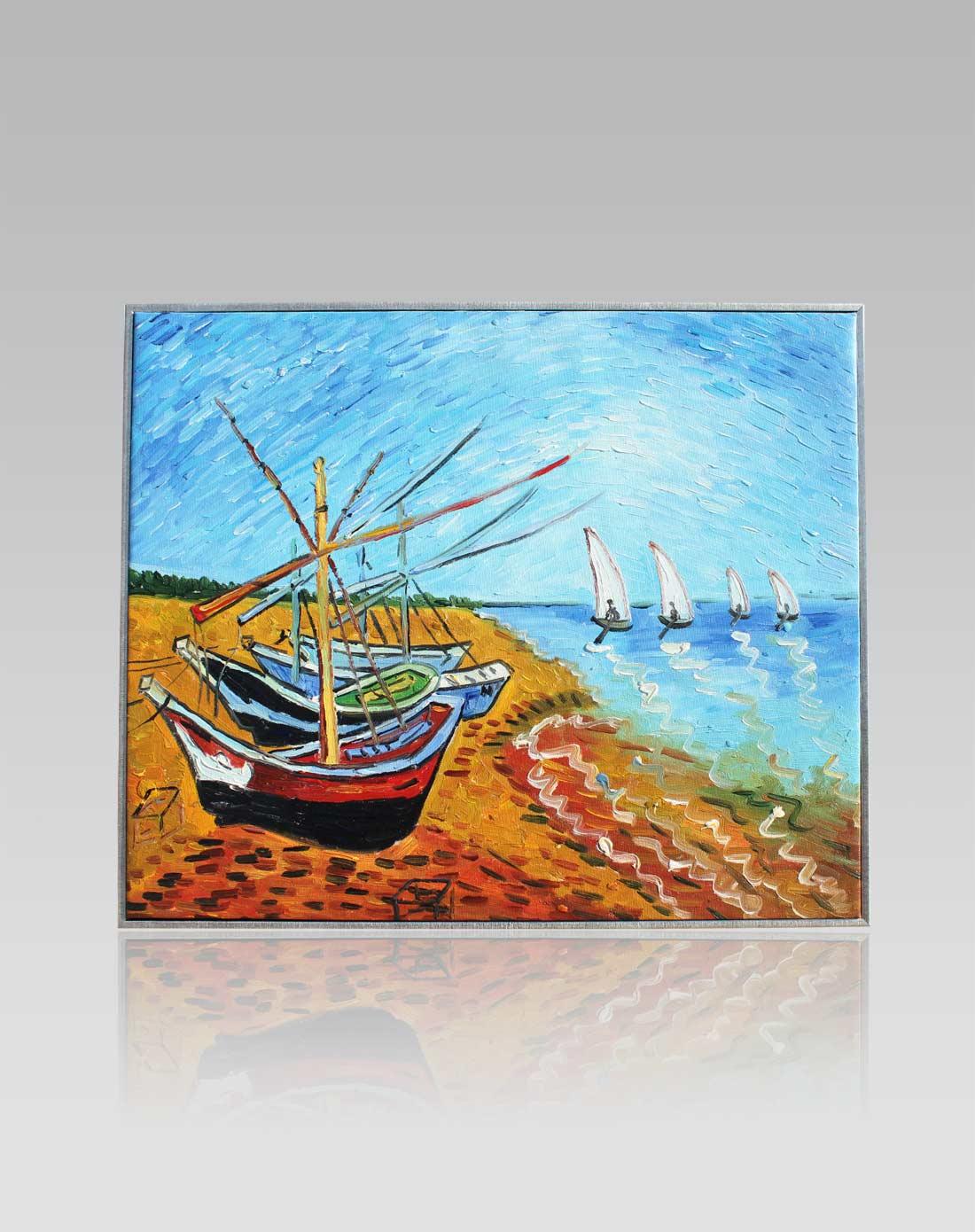 手绘油画-梵高·帆船