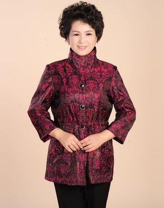 玫红色欧式复古花纹翻领上衣