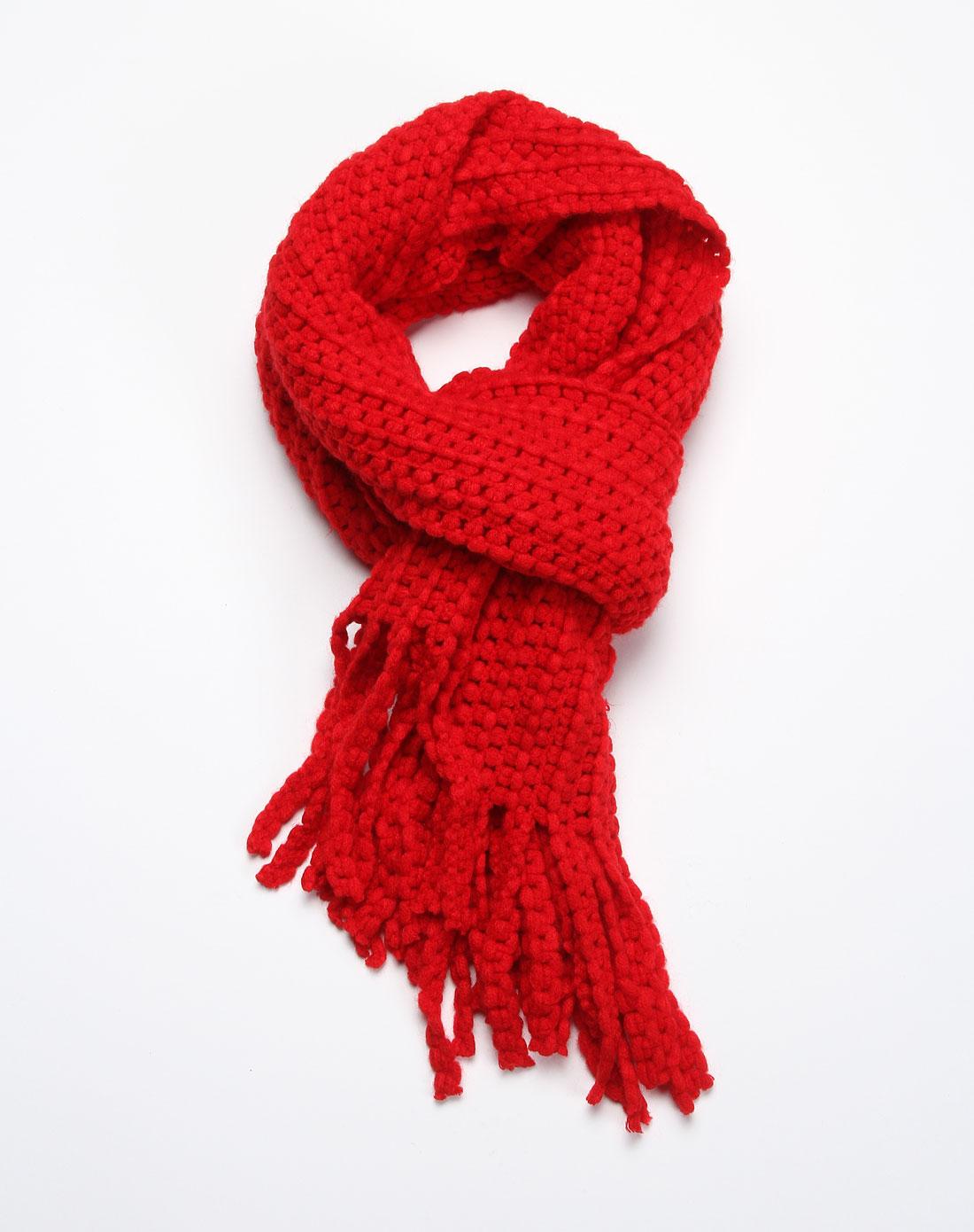 休闲清新优雅红色围巾