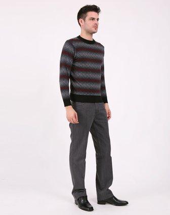 黑色/灰色/红色横条套头衫