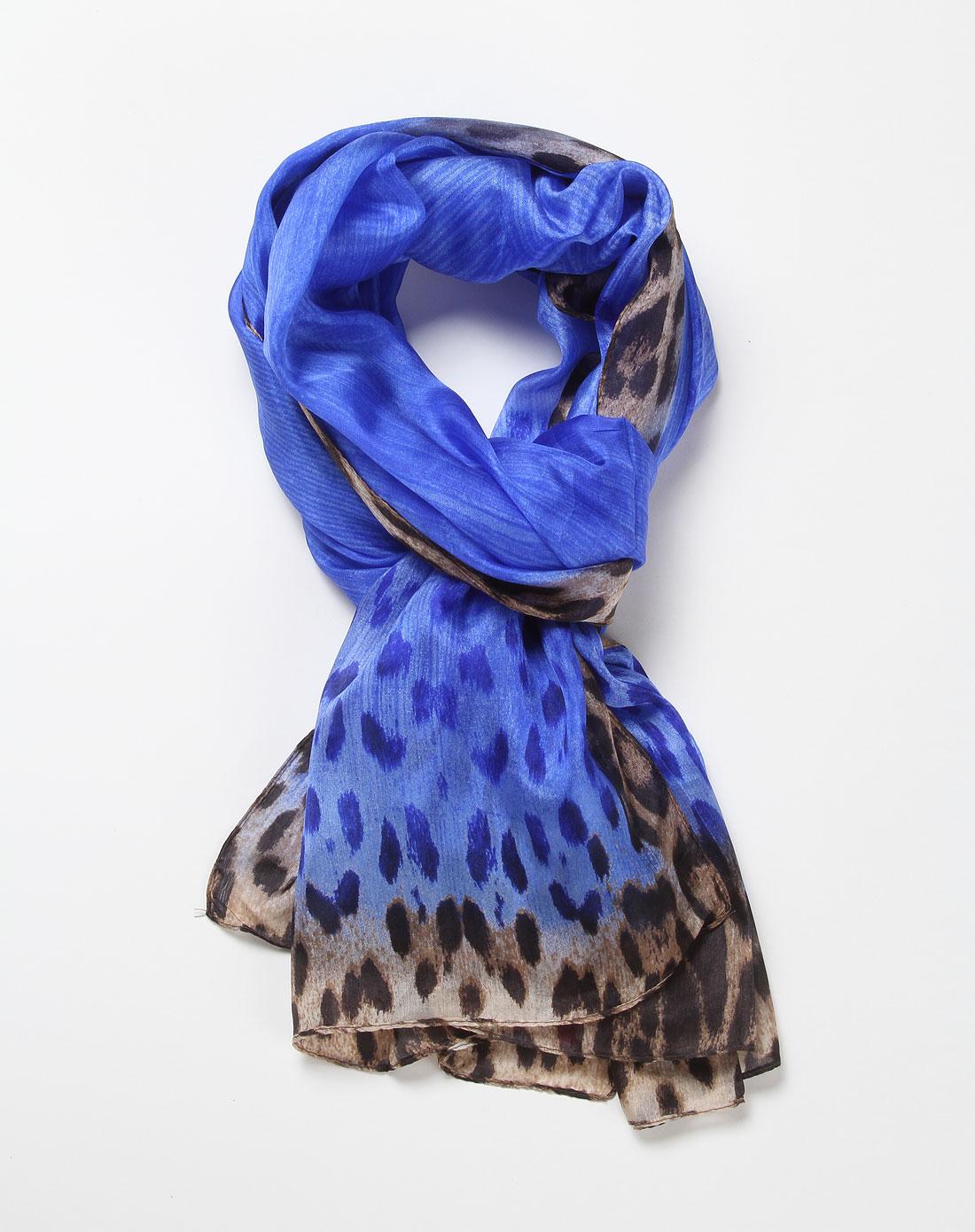 女款蓝色豹纹经典真丝围巾披肩