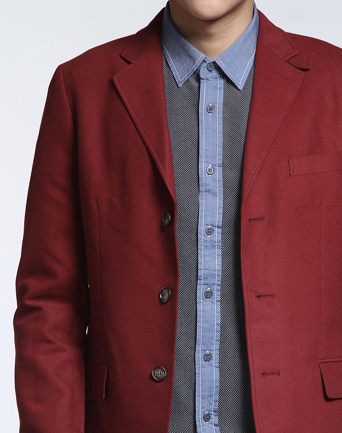 森马酒红色毛呢时尚长袖休闲西装外套12115312101
