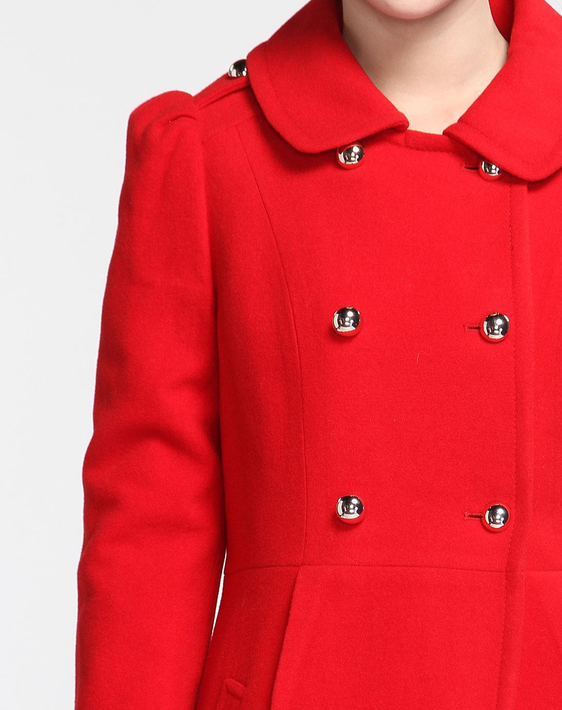 p2s红色羊毛大衣2d0pco467-28