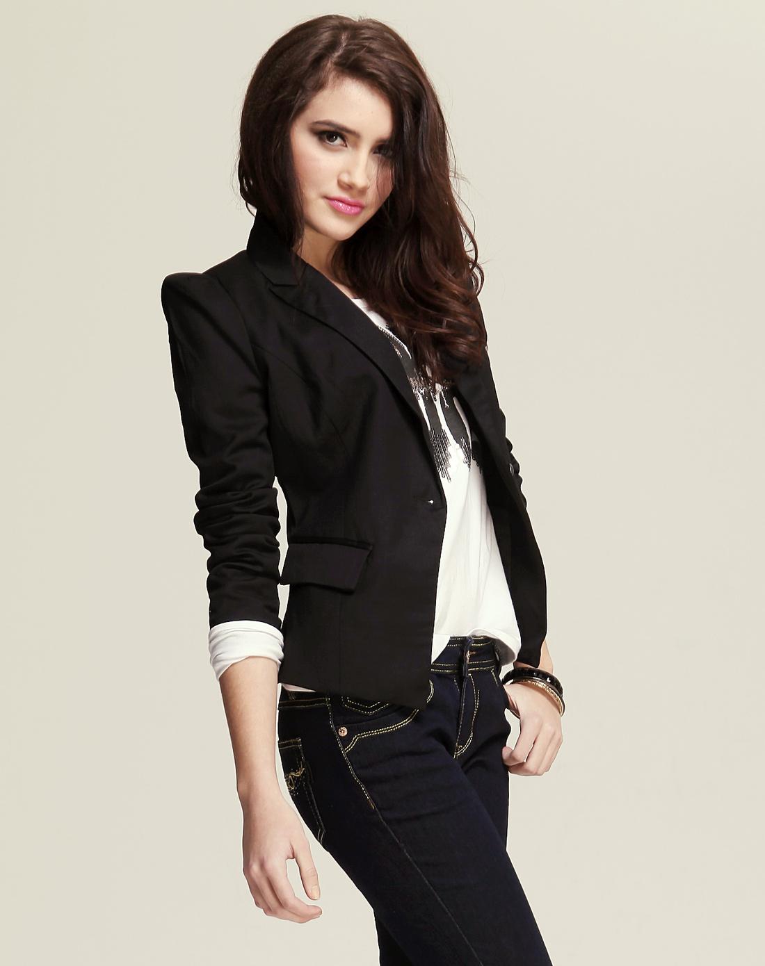 女外套_女西装外套中长款黑色网店