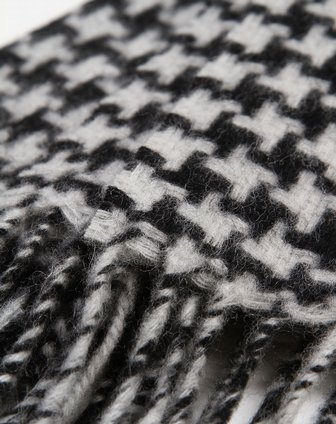 女款黑白色小格子欧美典雅羊绒围巾