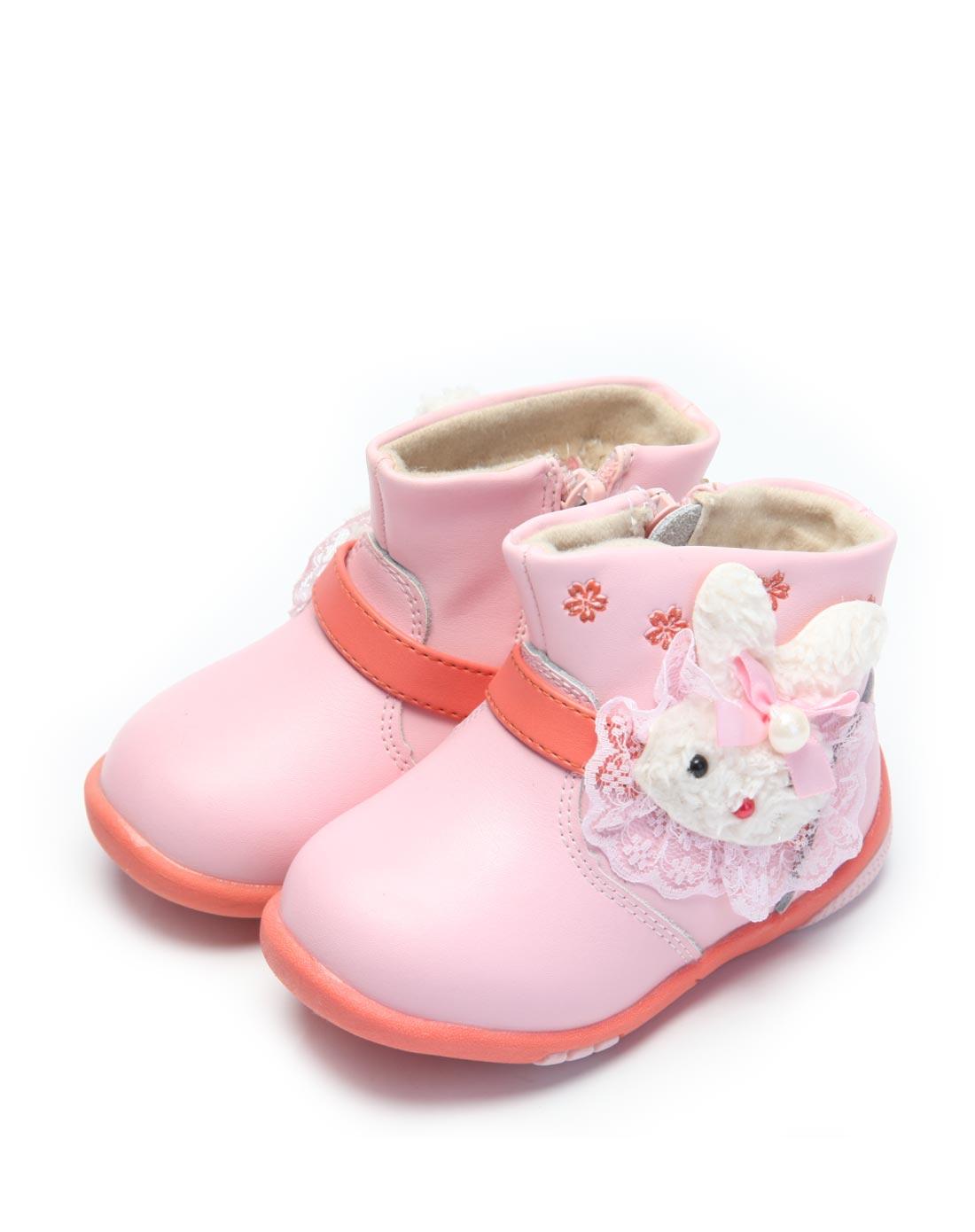 小叮当 女宝宝粉红可爱卡通雪地靴图片