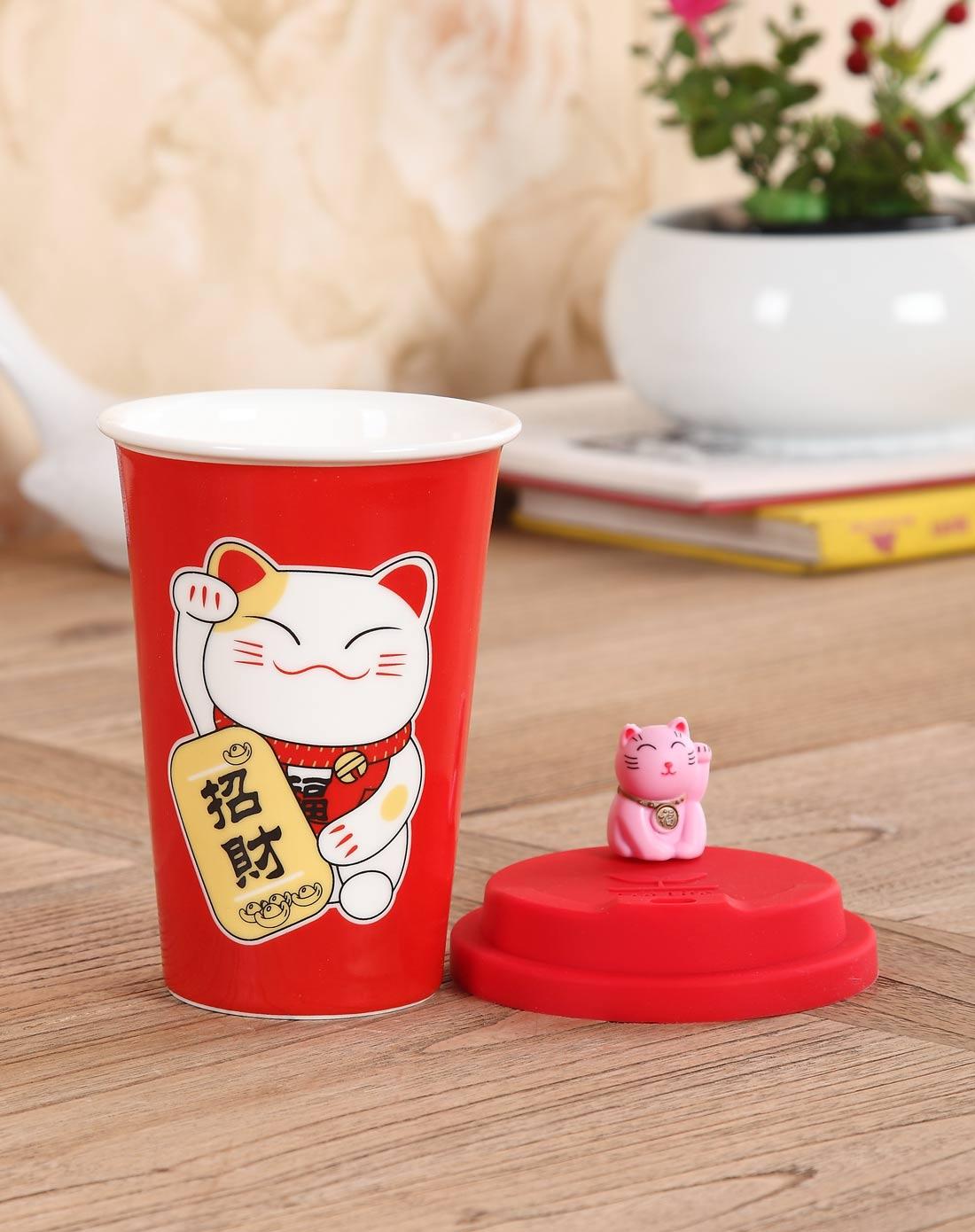 可爱招财猫马克杯-红色