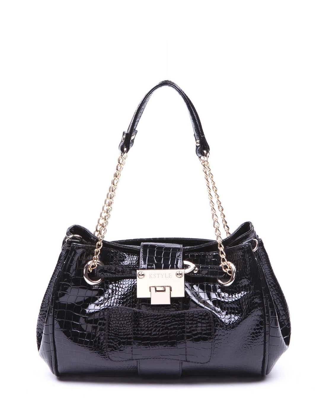 凯丝莱尔k style黑色欧美时尚鳄鱼纹单肩斜挎女包76