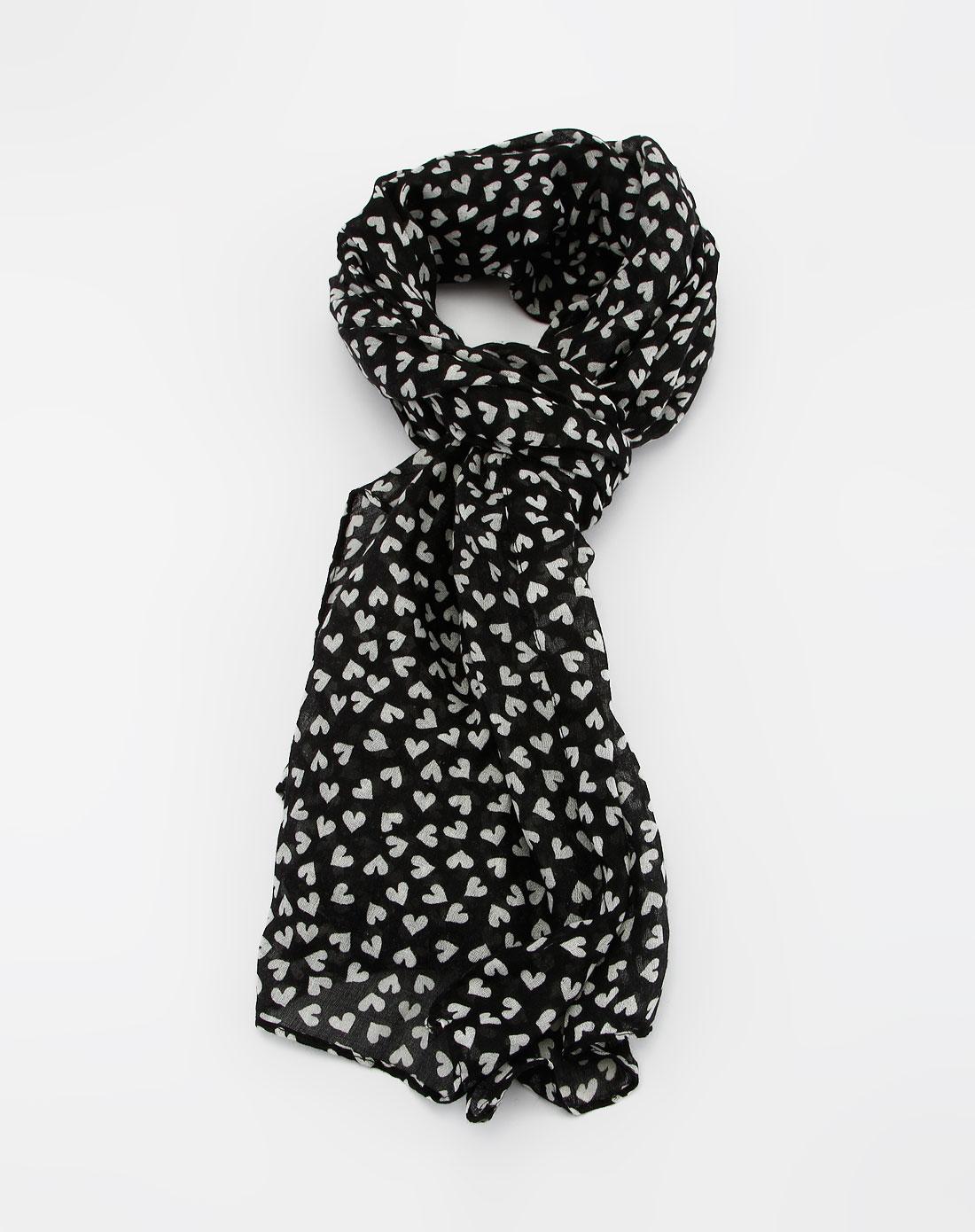 女款黑/白色心形图案时尚围巾图片