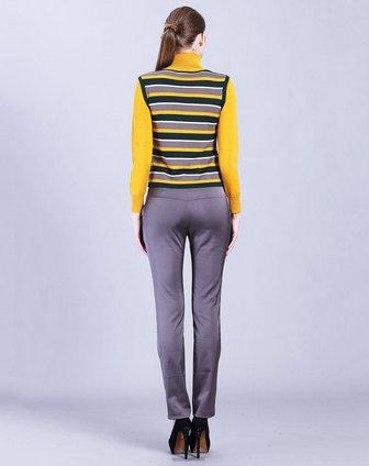黄色配条假两件针织上衣