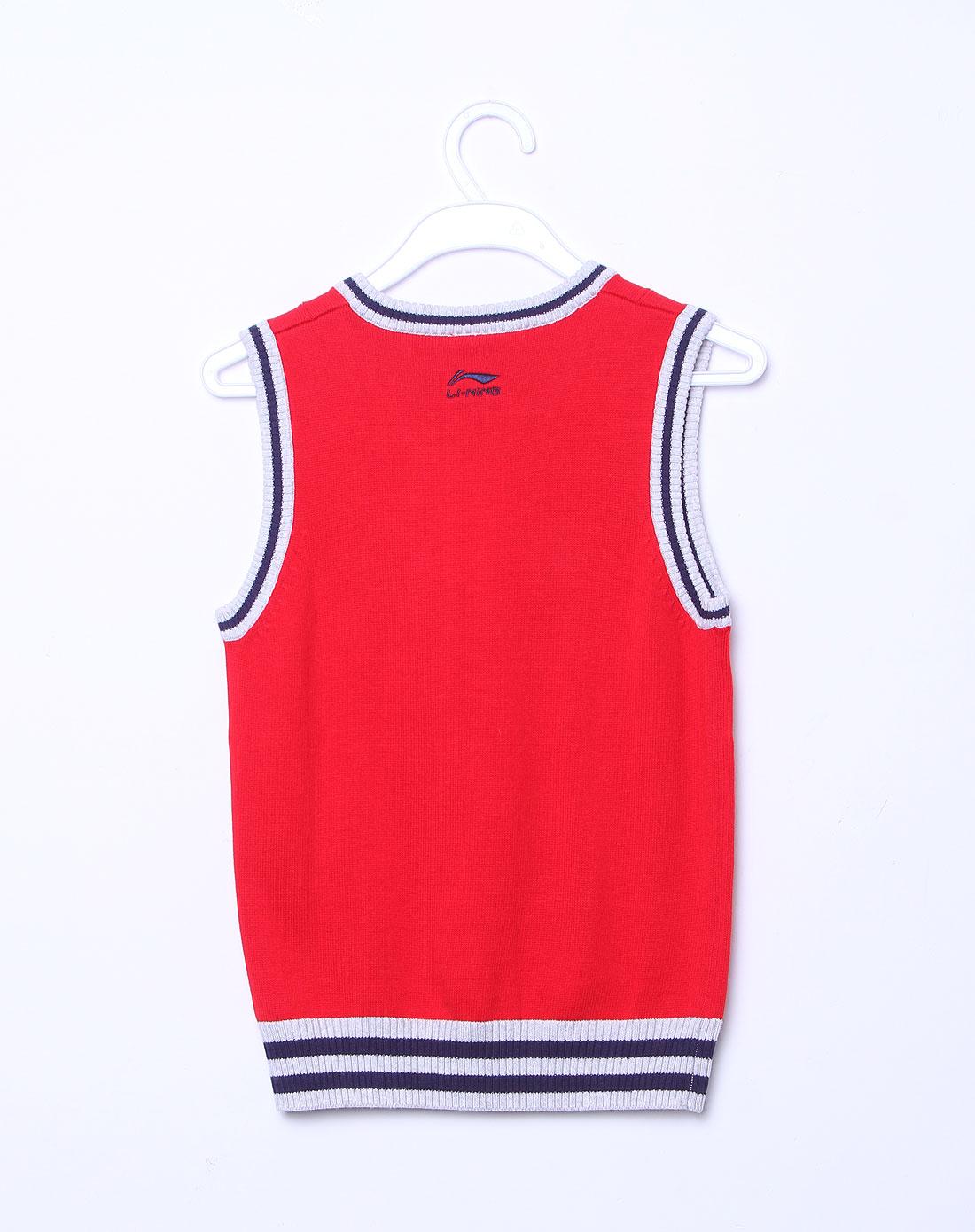 男童大红色时尚v领背心编织衫