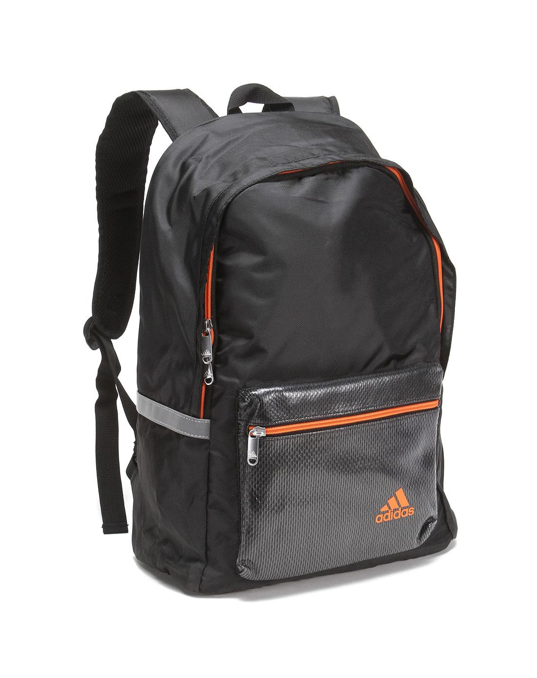 中性黑/橙双肩背包图片