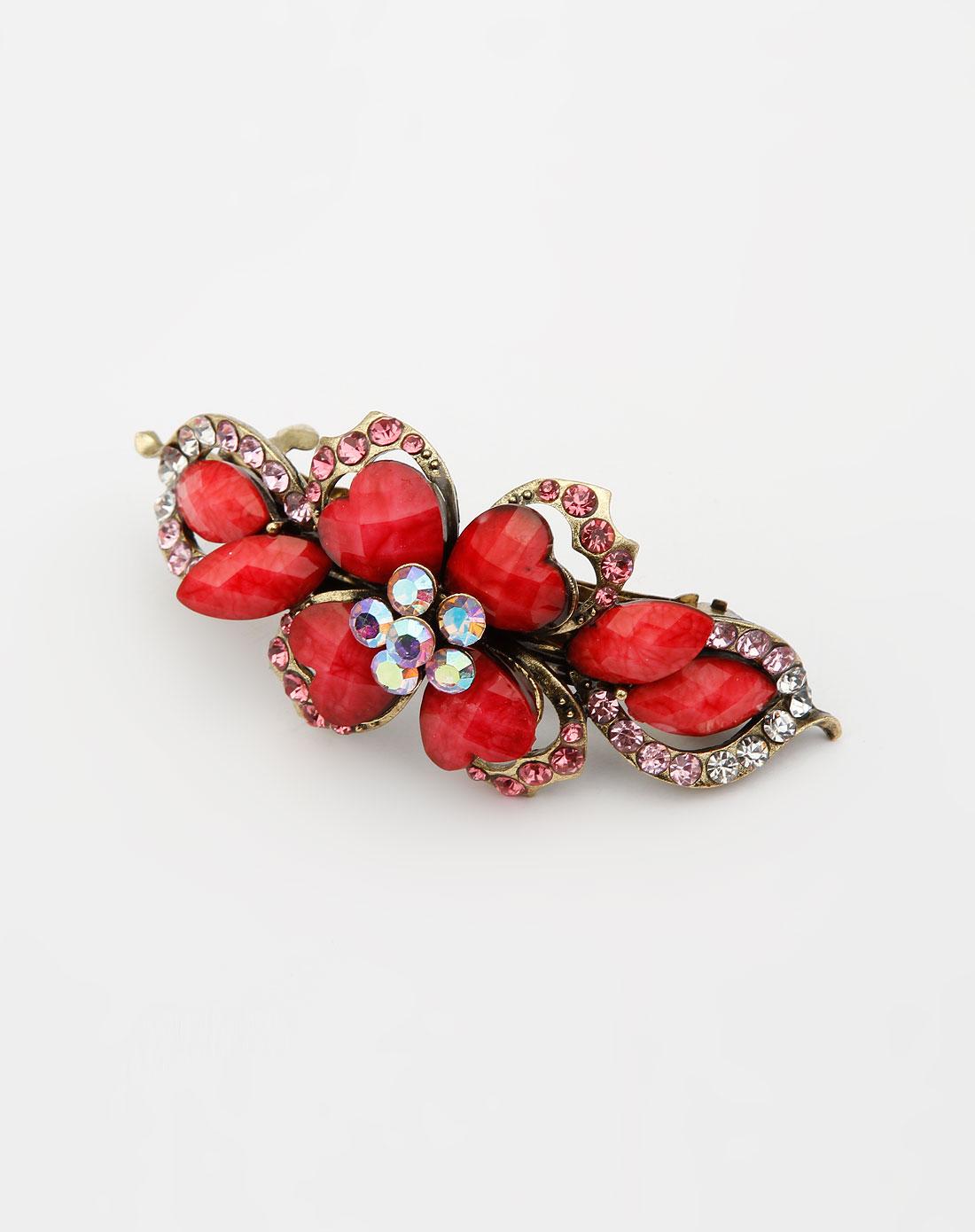 玫红色镶钻花瓣发夹