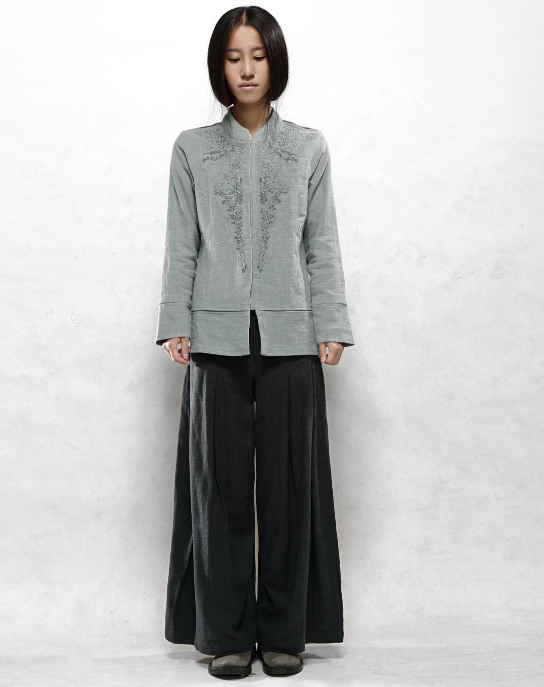 素缕souline铅灰色《冬藏》长袖刺绣棉衣sl24650176图片