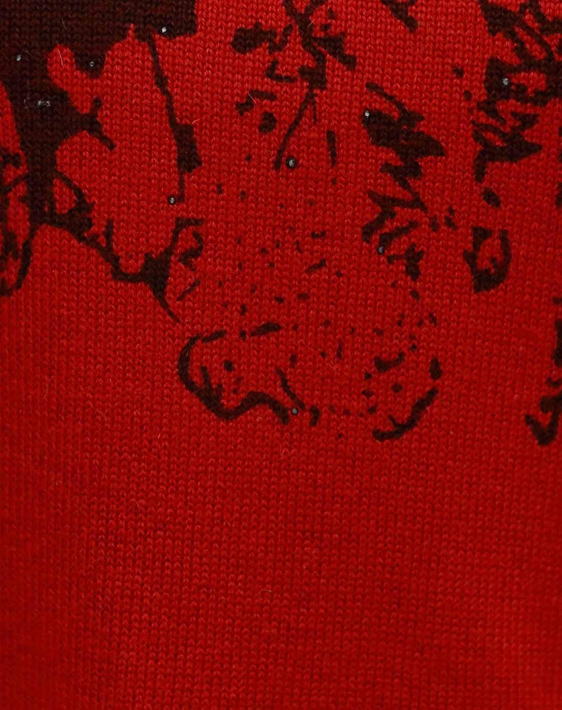 大红色/咖啡色花纹蹲领套头衫