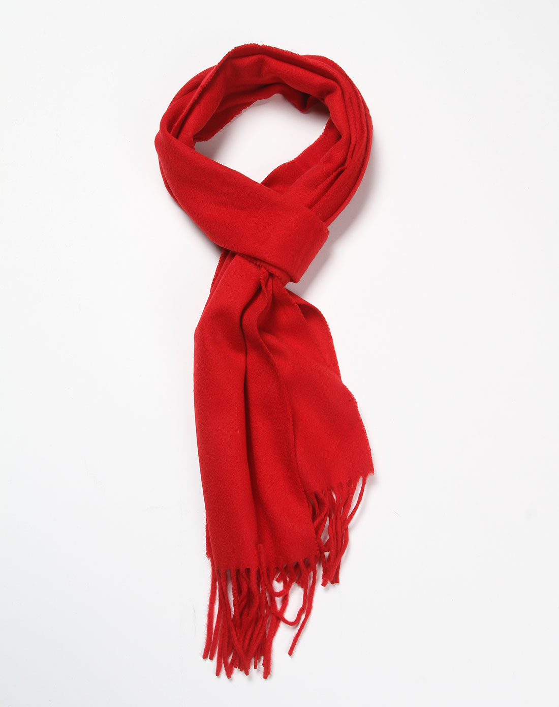 大红色简约休闲羊绒围巾