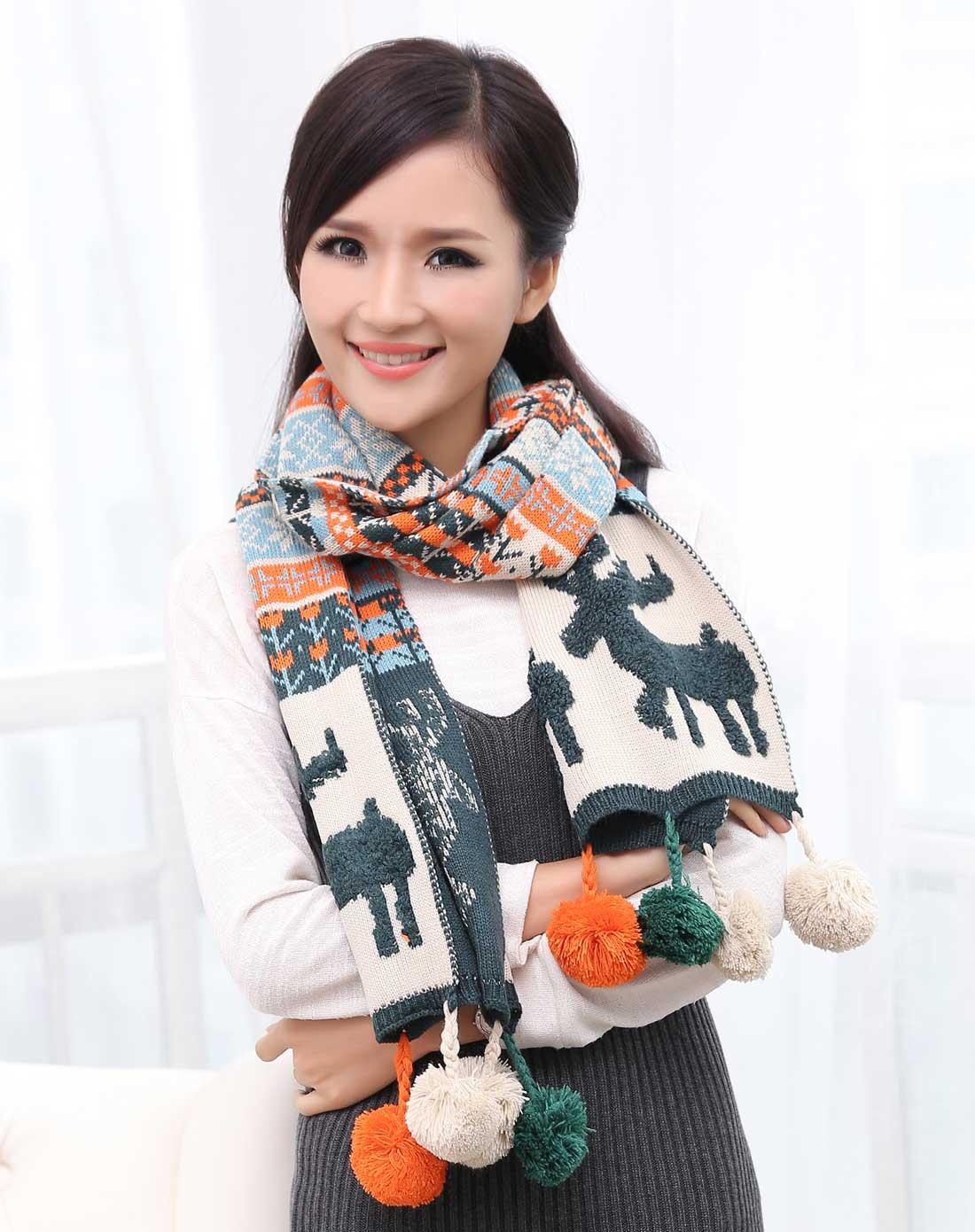 zhou围巾专场女米色搭配果绿小鹿围巾yx0651