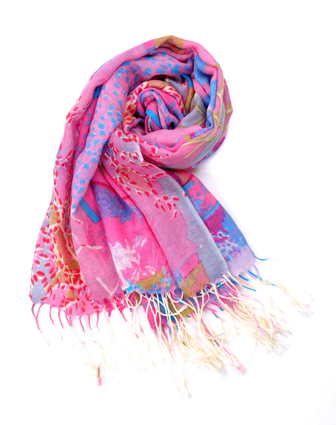 女款时尚泼墨画羊毛印花围巾粉色