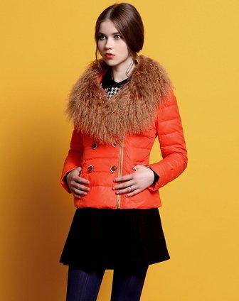 橙红针织外套搭配
