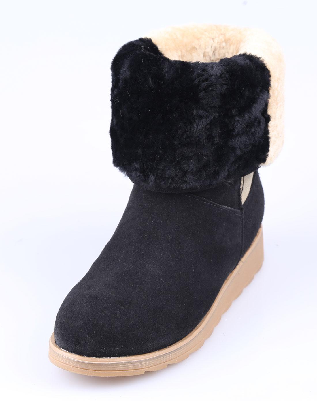 女士牛反绒黑色雪地靴
