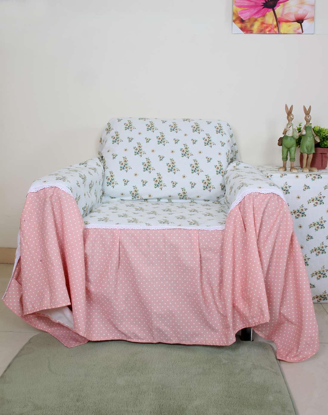 > 欧式小花单人沙发罩