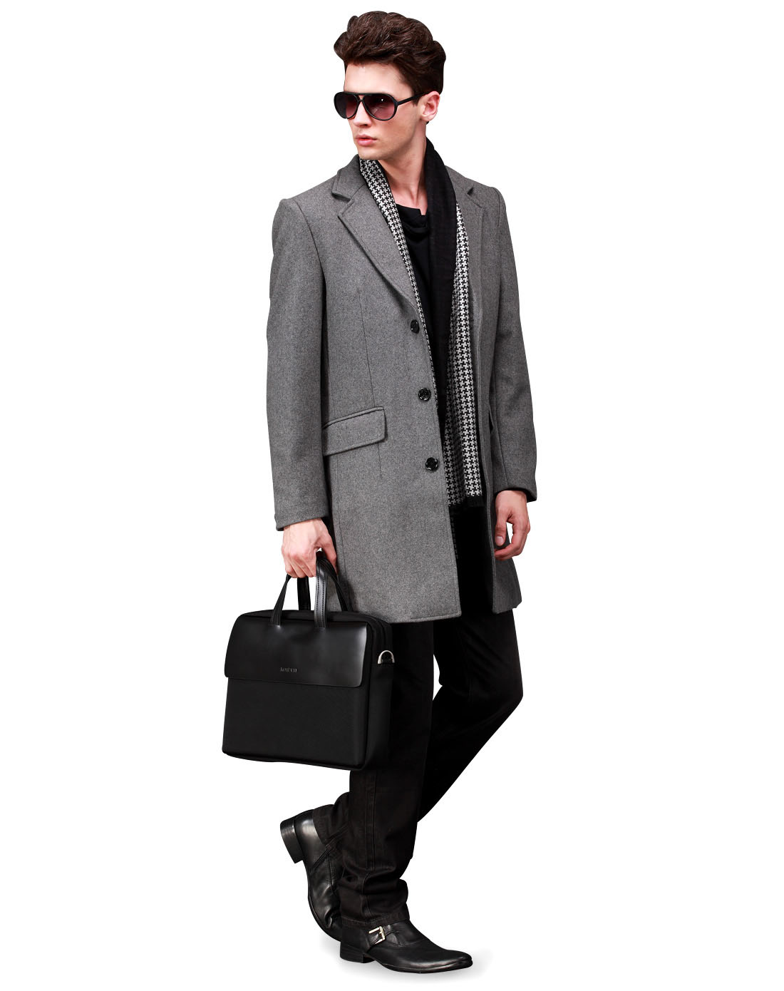 男款花灰色西装领合身配围巾呢料大衣