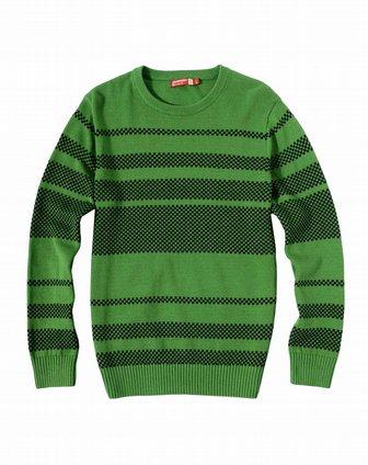 真维斯jeanswest男男款深绿色圆领横条长袖针织衫jw