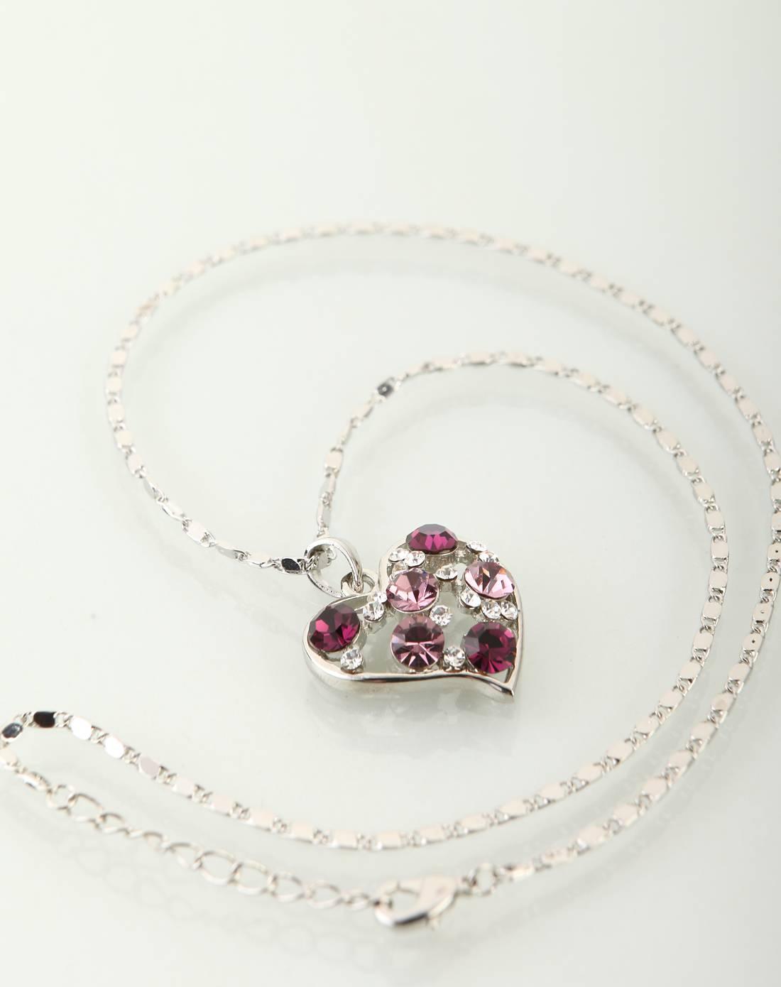 紫色水晶心形项链