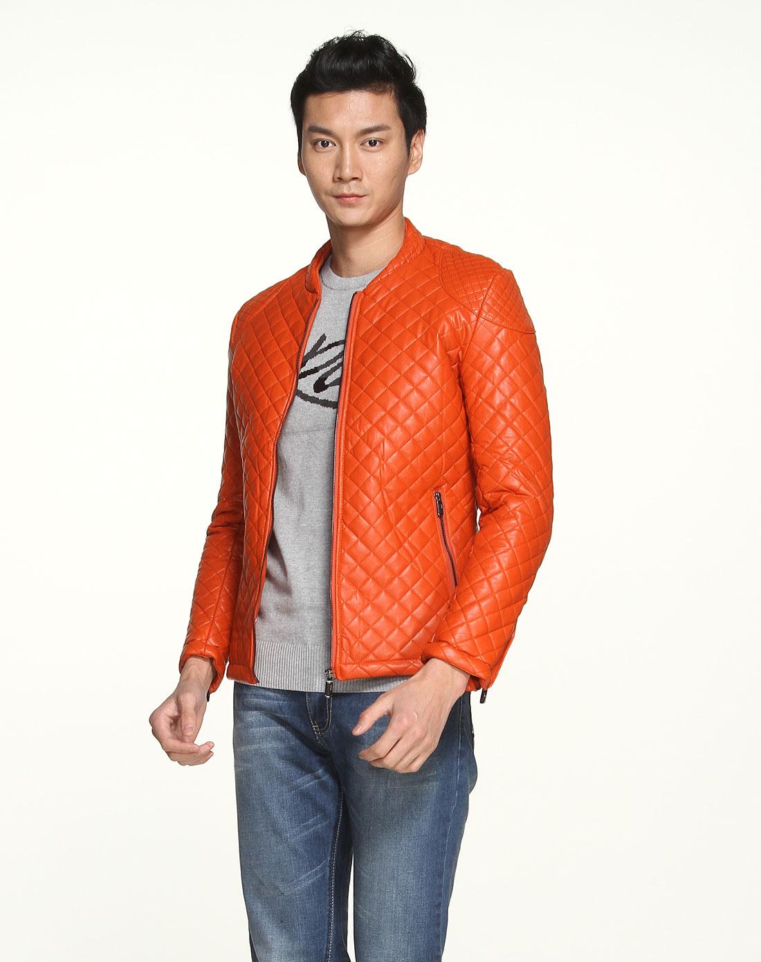 男款橘色时尚菱形格纹保暖长袖棉衣
