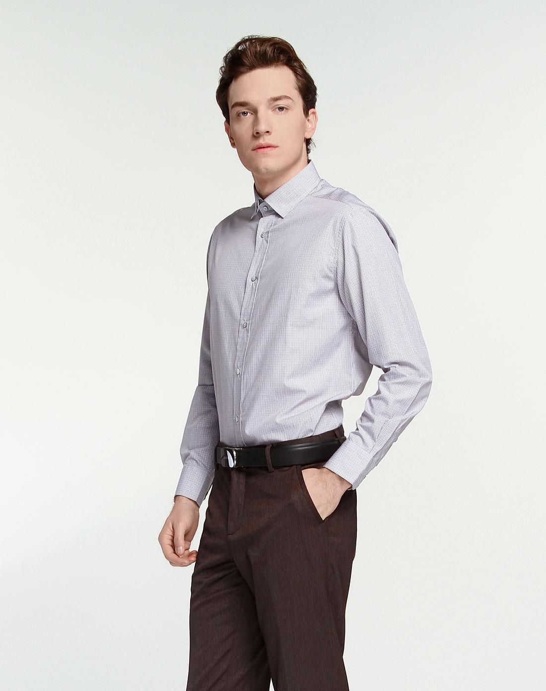 卡利斯特callisto卡其色混色格子长袖衬衫sistl049