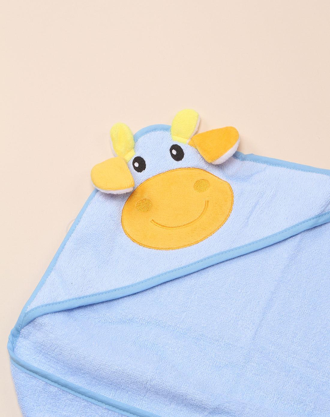 中性蓝色可爱小牛浴巾
