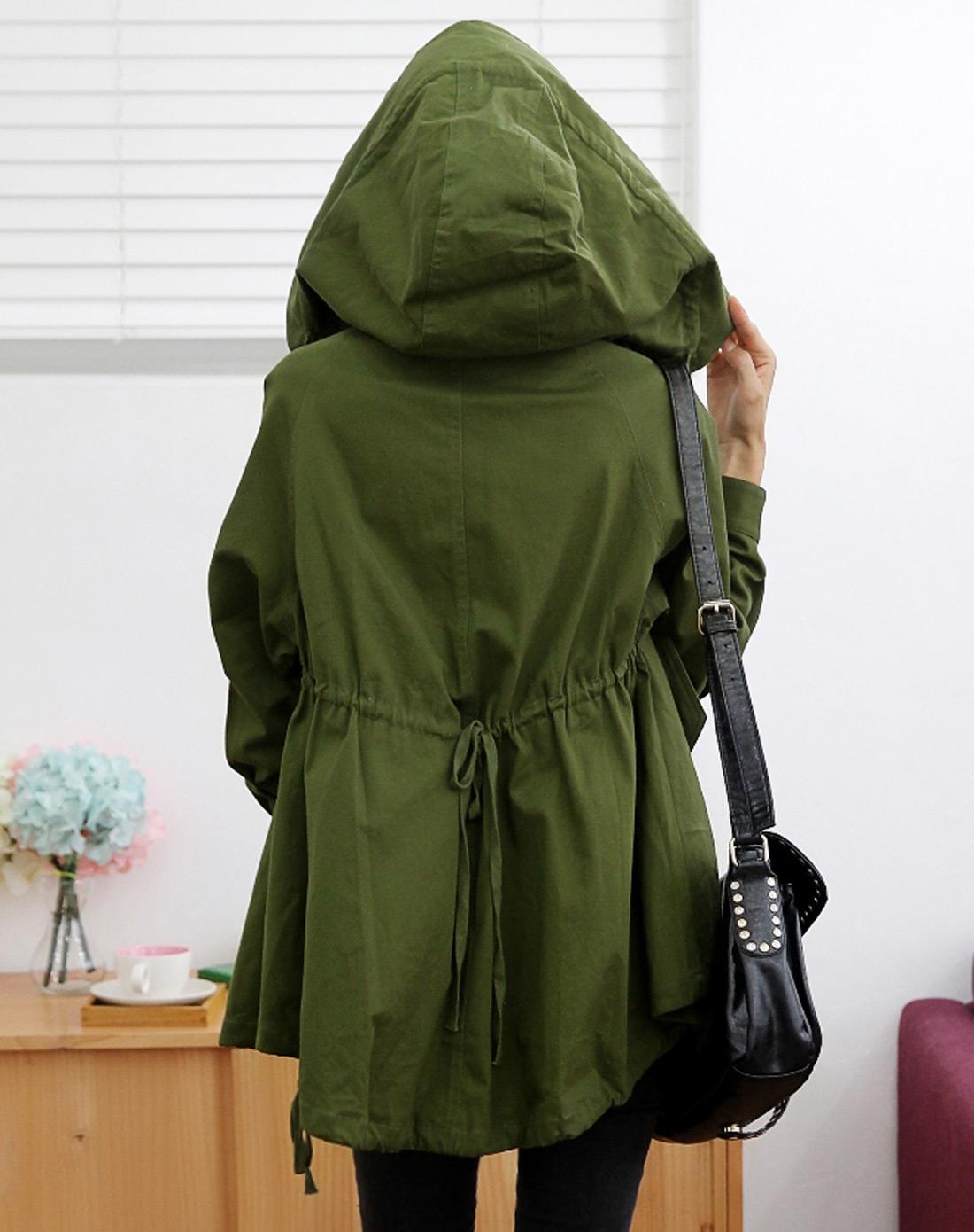 军绿色长袖宽松大码连帽风衣