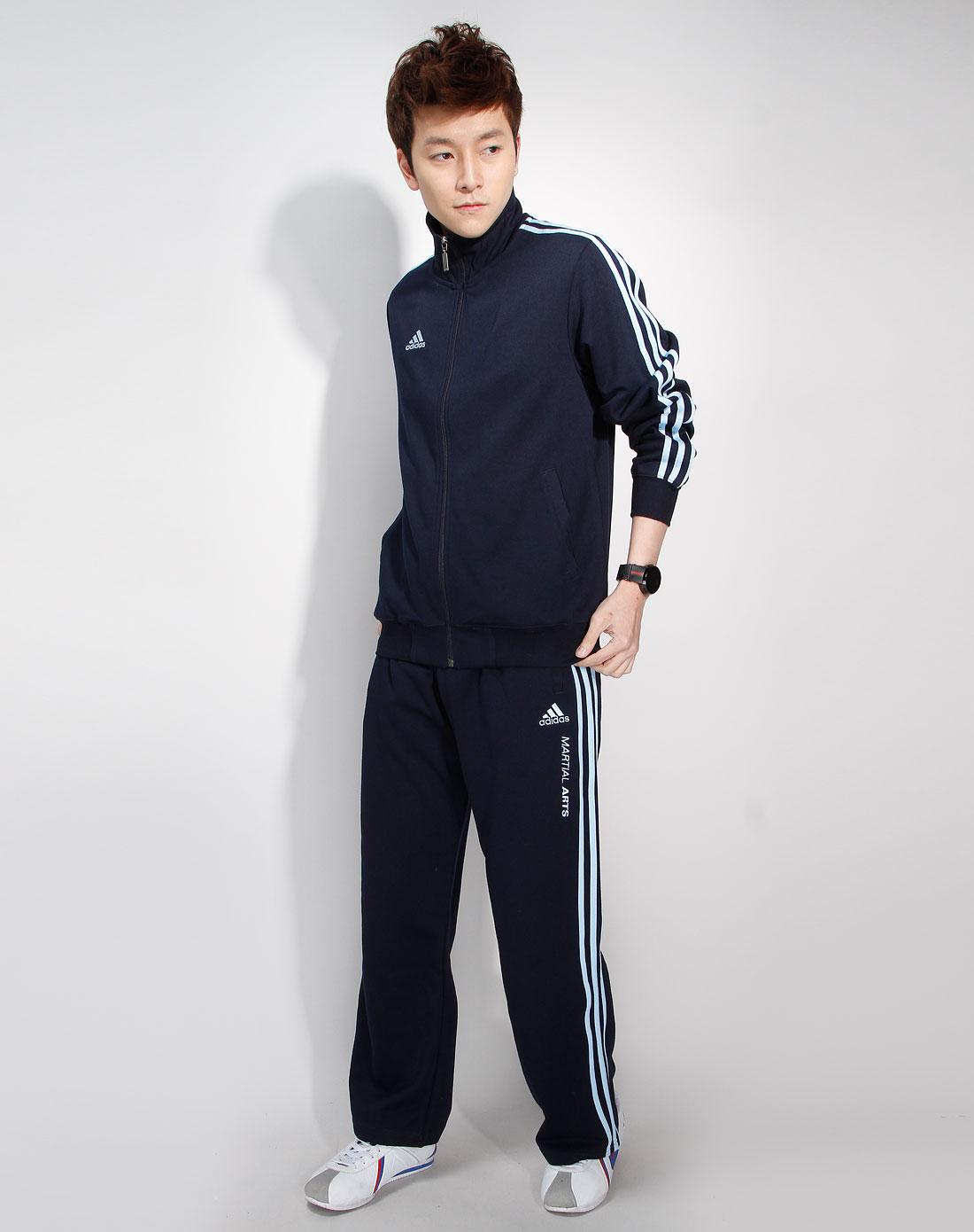 阿迪达斯adidas 男款藏蓝色长袖衫长裤运动套装1图片