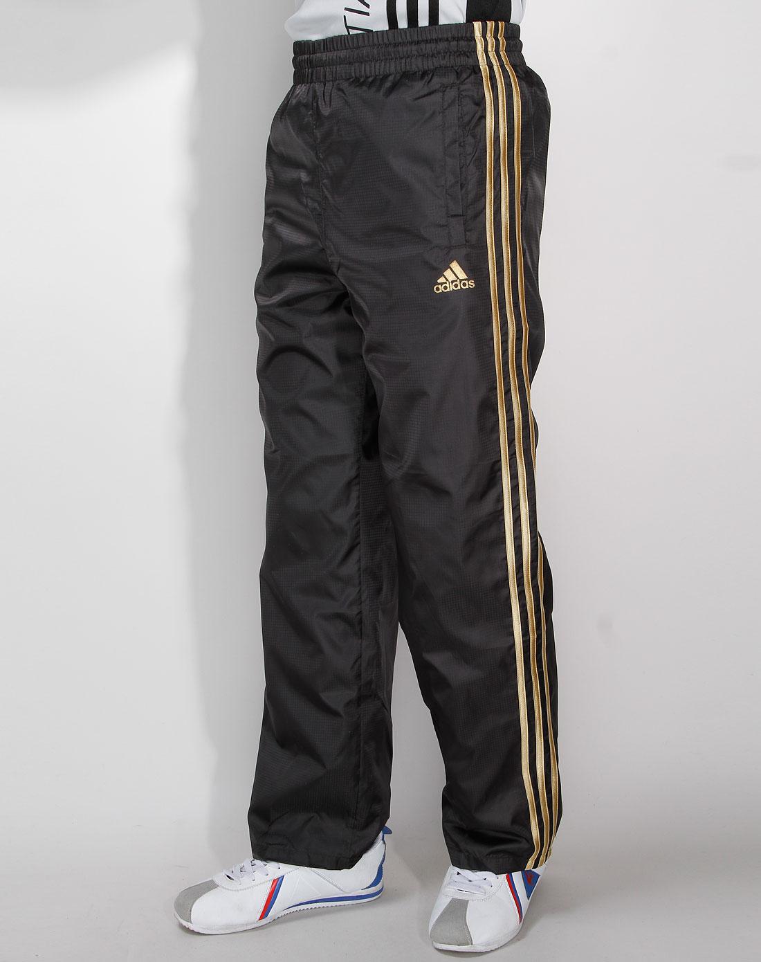 阿迪达斯adidas男装专场-男款黑/金色边运动长裤