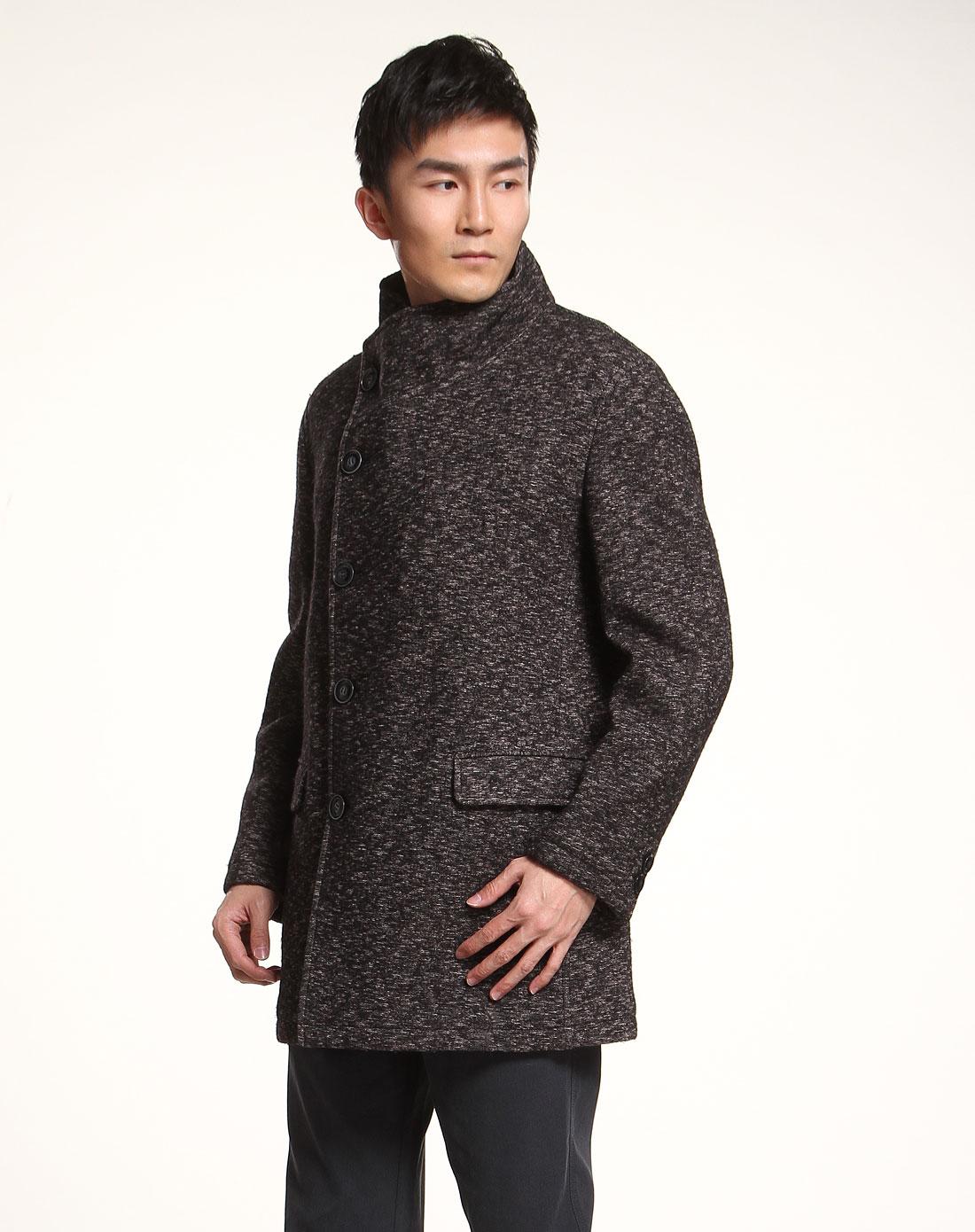 褐黑色针织偏襟长袖大衣