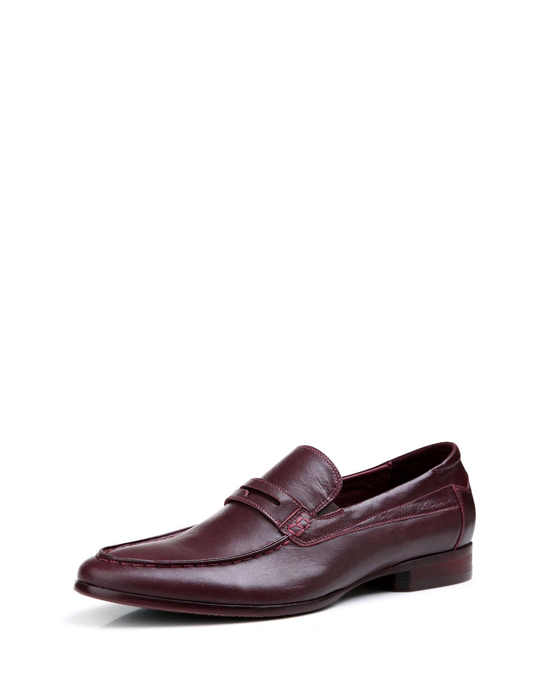 mr.ing 酒红真皮鞋