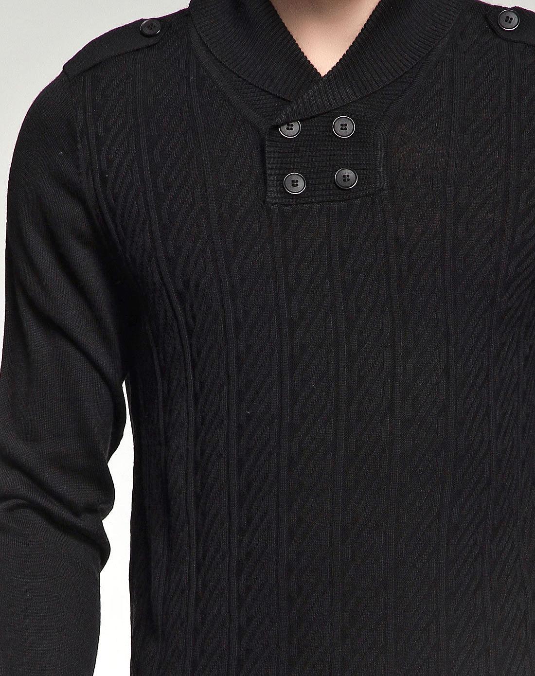 黑色绅士帅气长袖毛衫