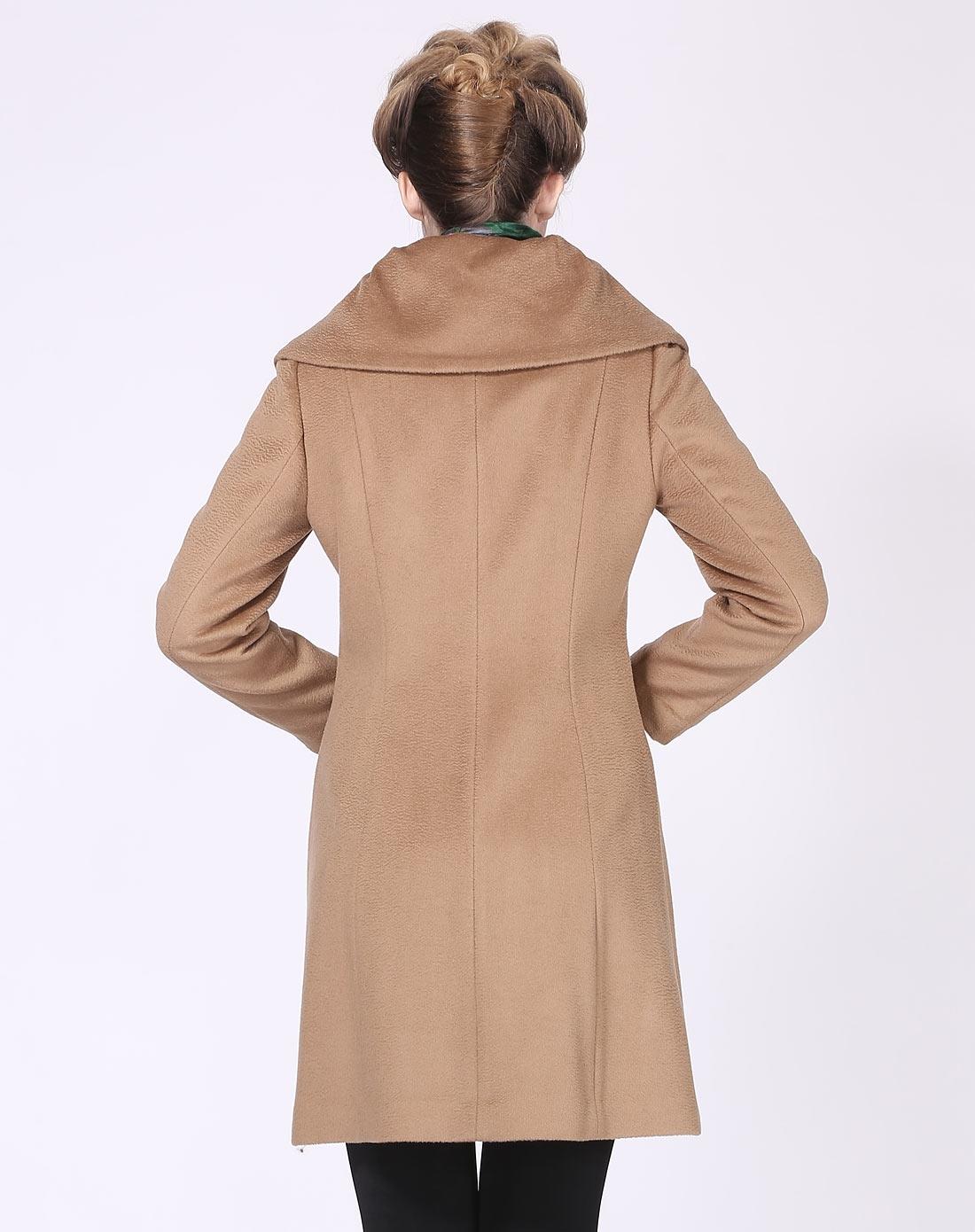 f·e·s时尚杏色长袖呢中大衣外套d11764632