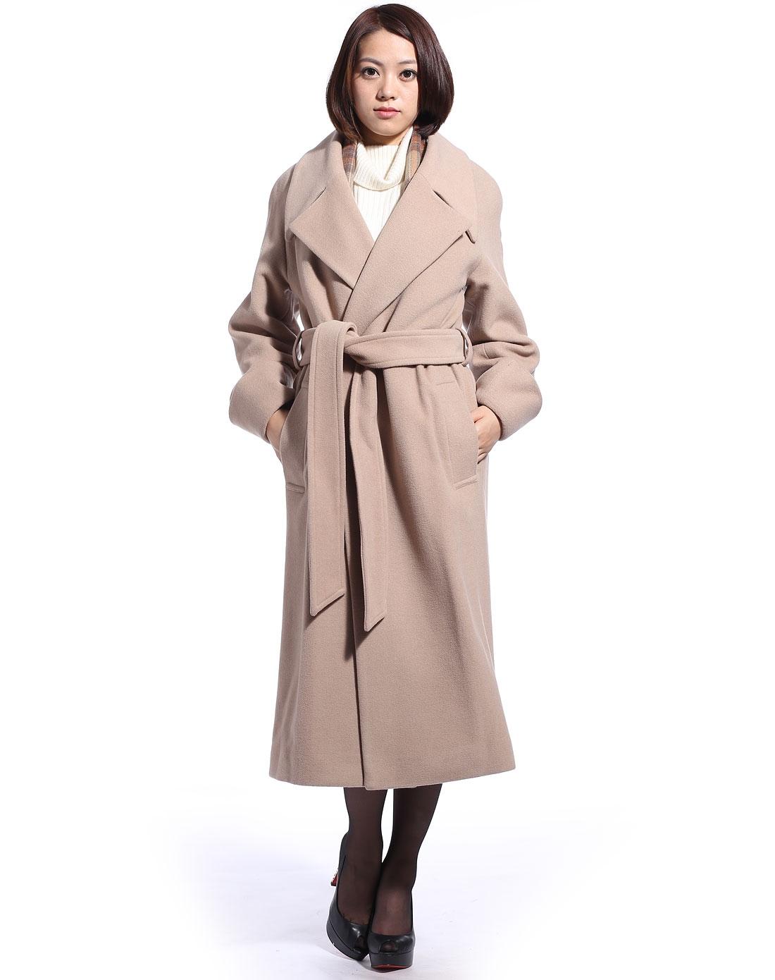 袖女_女卡其色翻领插肩袖女长羊绒大衣