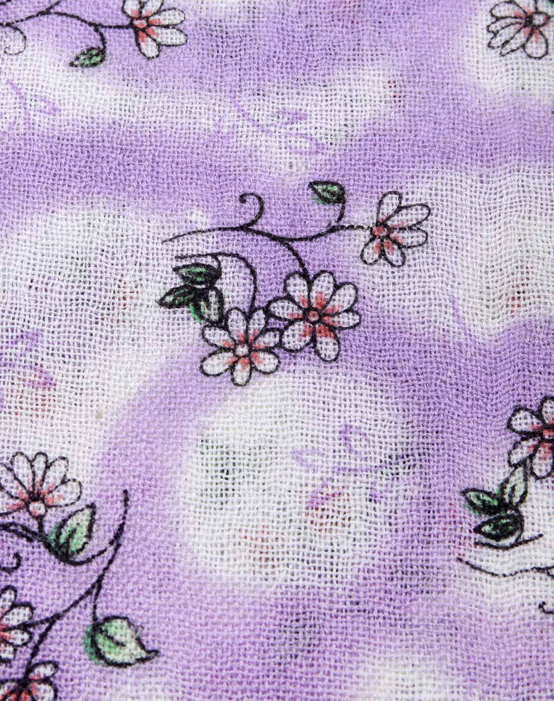 女款紫色小清新印花羊毛围巾