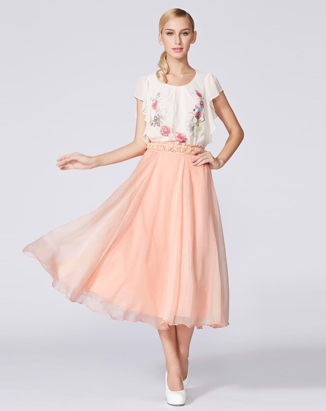粉色唯美荷葉邊雙層半身裙圖片